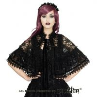 Sinister Gothic Black Venetian Scalloped Lace & Velvet Ribbon Cape