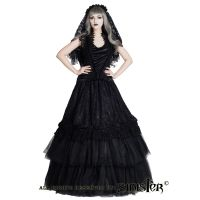 Sinister Gothic Plus Size Black Embroidered French Lace & Velvet Bows Long Medieval Skirt