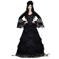 Sinister Gothic Plus Size Black Lace & Satin Roses Long Renaissance Medieval Skirt