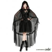 Sinister Gothic Black Dramatic Sicilian & French Lace Velvet Ribbon Cape