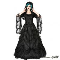 Sinister Gothic Plus Size Black Multilayer Long Mesh Fairytale Skirt w Bows