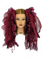 Burgundy Gothic Ribbon Hair Falls by Dreadful Falls