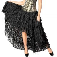 Burleska Plus Size Amelia Black Lace Gothic Hi Low Burlesque Skirt