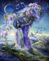 Aquarius Zodiac Collector's Card by Josephine Wall