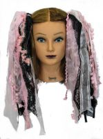 Baby Pink & Black Gothic Ribbon Hair Falls by Dreadful Falls