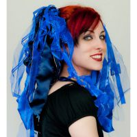 Bright Blue Gothic Ribbon Hair Falls by Dreadful Falls