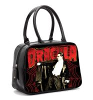 Black and Red Universal Monsters Dracula Spiderweb Bowler Purse Handbag