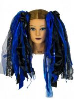 Black & Royal Blue Gothic Ribbon Hair Falls by Dreadful Falls