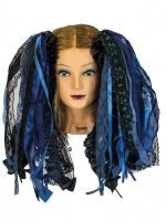 Black and Storm Blue Gothic Ribbon Hair Falls by Dreadful Falls