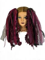 Burgundy and Black Gothic Ribbon Hair Falls by Dreadful Falls