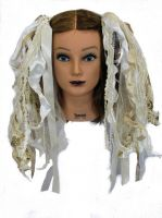 Cream & Bronzy Gold Gothic Ribbon Hair Falls by Dreadful Falls