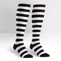 Plus Size Black and White Striped Wide Calf Curvy Knee High Socks