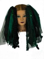 Dark Green and Black Gothic Ribbon Hair Falls by Dreadful Falls