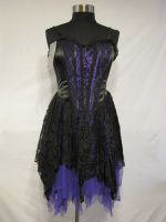 Dark Star Black and Purple Satin Velvet Lace Gothic Mini Dress