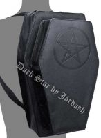 Dark Star Black Gothic PVC Double Black Pentacle Coffin Backpack Purse