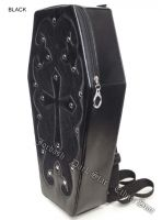 Dark Star Black Gothic PVC Coffin Cross Backpack Purse