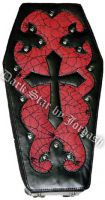 Dark Star Red Gothic PVC Coffin Cross Backpack Purse