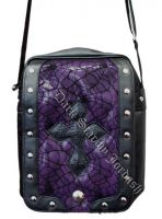 Dark Star PVC Black and Purple Cobweb Cross Shoulder Bag