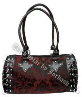 Dark Star Black and Red Gothic Brocade Hand Bag