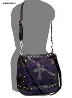 Dark Star Black and Purple Brocade Gothic PVC Cross Purse