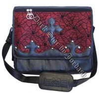 Dark Star Red Gothic PVC Coffin Cross Messenger Bag Purse