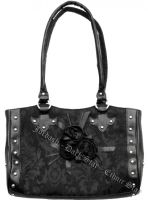 Dark Star Black Gothic Cross Brocade and Roses Hand Bag