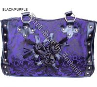 Dark Star Black and Purple Gothic Cross Brocade and Roses Hand Bag