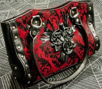 Dark Star Black and Red Gothic Cross Brocade and Roses Hand Bag