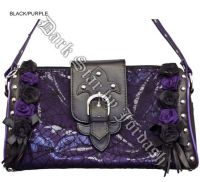 Dark Star Black and Purple Gothic Cobweb and Roses PVC Purse