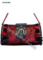 Dark Star Black and Red Gothic Cobweb and Roses PVC Purse