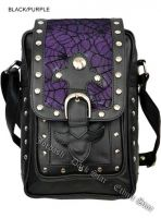 Dark Star PVC Black and Purple Cobweb Stud Gothic Shoulder Bag