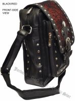 Dark Star PVC Black and Red Cobweb Stud Gothic Shoulder Bag