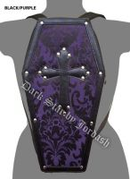Dark Star Purple Gothic PVC Coffin Cross Stud Backpack Purse