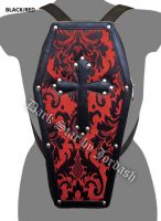 Dark Star Red Gothic PVC Coffin Cross Stud Backpack Purse