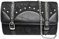 Dark Star Black Brocade Clutch Purse w Strap
