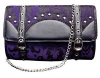 Dark Star Black and Purple Brocade Clutch Purse w Strap