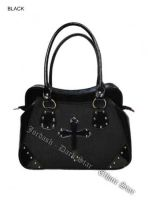 Dark Star Black PVC Brocade Studded Cross Handbag Purse