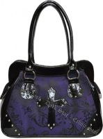 Dark Star Black and Purple PVC Brocade Studded Cross Handbag Purse