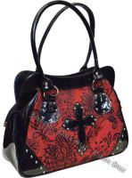 Dark Star Black and Red PVC Brocade Studded Cross Handbag Purse