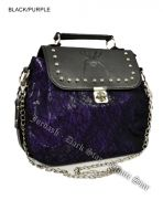 Dark Star Black and Purple Gothic Cobweb and Spider PVC Handbag & Shoulder Purse