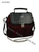 Dark Star Black and Red Gothic Cobweb and Spider PVC Handbag & Shoulder Purse