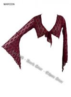 Dark Star Maroon Floral Lace Gothic Shrug Cardigan
