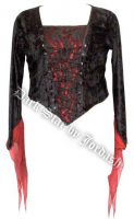Dark Star Velvet Medieval Gothic Black Red Corset Top