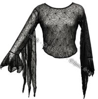 Dark Star Black Spider Web Bell Sleeved Top