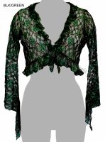 Dark Star Black and Green Lace Shrug