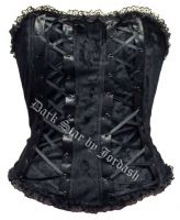 Dark Star Black Velvet Corset Basque Top with Lacing