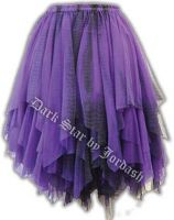 Dark Star Gothic Short Black & Purple Lace Net Multi Tier Witchy Hem Mini Skirt