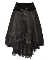 Dark Star Black Gothic Velvet Lace & Roses Skirt