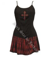 Dark Star Gothic Short Black Red Tie Dye Mini Dress with Cross