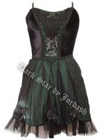 Dark Star Satin Velvet Black & Green Gothic Lolita Dress